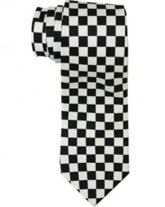 Checkered black & white squares tie Posh cadillac store