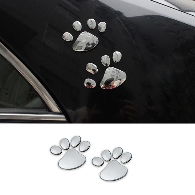 3d Car Sticker Reflective Mirror Chrome Silver Animal Pet
