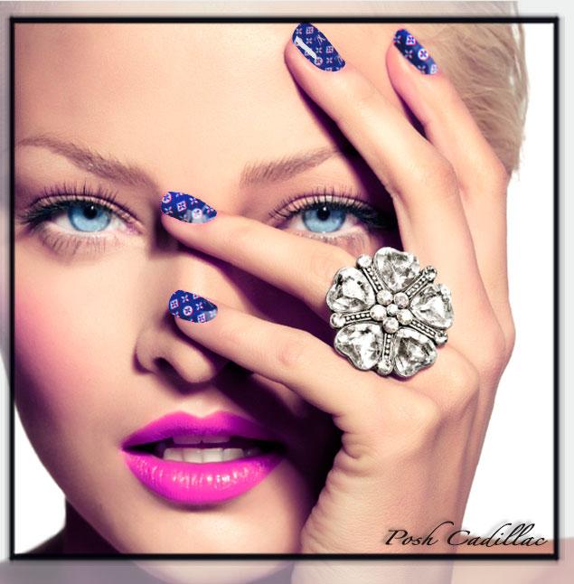 Set of 12 Louis Vuitton Purple full nail stickers, random finger ...