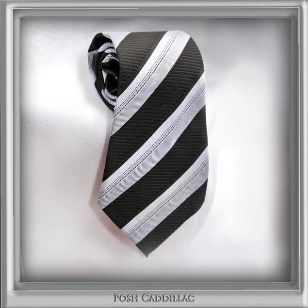 Black-&-White-dotted-stripes-Posh-Cadillac-100-silk-handmade-jacquard-main1-web-S