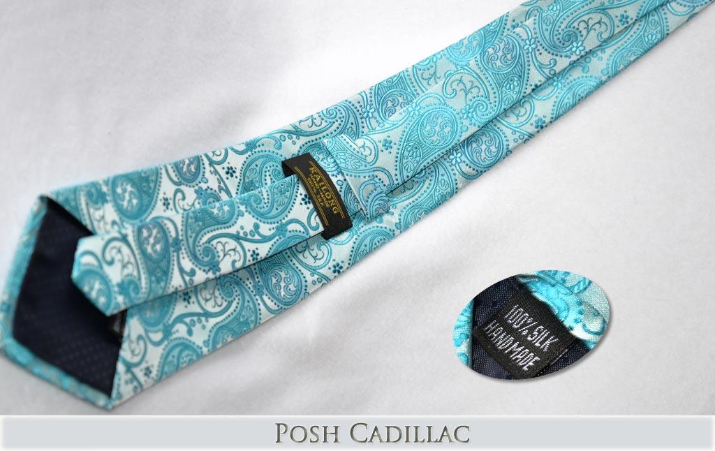 Aqua-Baby-Blue-Floral-Woven-Jacquard-Silk-Handmade-Posh-Cadillac-web