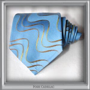 Aqua-Baby-Blue-Tie-with-gold-bronze-wave-pattern-Jacquard-Handmade-Tie-Posh-Cadillac-main-txt-web