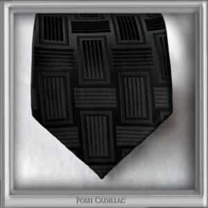 Black-Jacquard-Handmade-Silk-Tie-with-black-linear-square-weave-pattern-Posh-Cadillac-main1-web-S