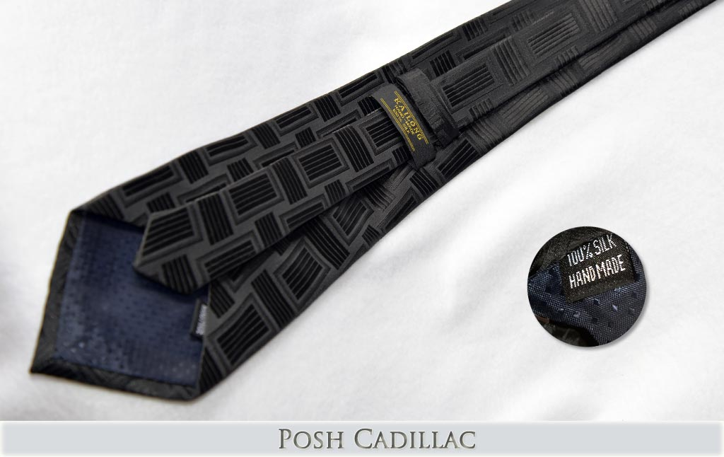 Black-Jacquard-Handmade-Silk-Tie-with-black-linear-square-weave-pattern-Posh-Cadillac-txt-below-web