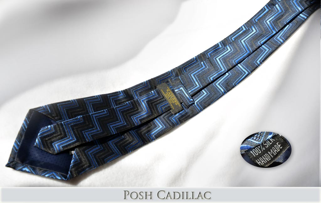 Black-Tie-with-Blue-Zig-zag-woven-pattern-Jacquard-Handmade-Silk-Posh-Cadillac-txt-below-we