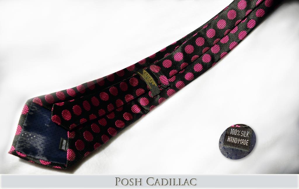 Black-Tie-with-Pink-Fuchsia-Polka-Dots-Jacquard-Handmade-Silk-Posh-Cadillac-txt-below-web
