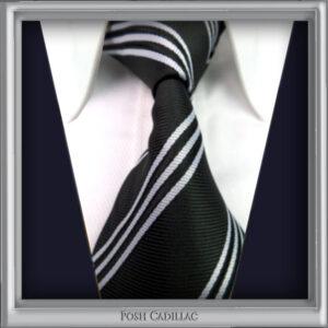 Black-Tie-with-white-stripes-Handmade-Jacquard-silk-Posh-Cadillac-main-txt-web-S