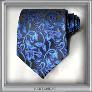 Black-and-Blue-Shades-Floral-Patern-Tie Handmade Jacqurd Silk Tie-Posh-Cadillac-main-Web-S