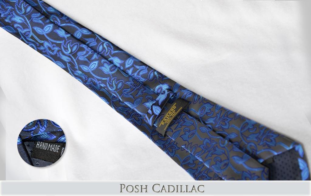 Black-and-Blue-Shades-Floral-Patern-Tie-Handmade-Jacqurd-Silk-Tie-Posh-Cadillac-txt-below-Web