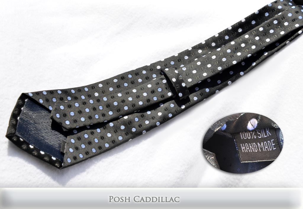 Black-tie-White-Stylish-dots-Stripes-Handmade-Silk-Posh-Cadillac-txt-below-web