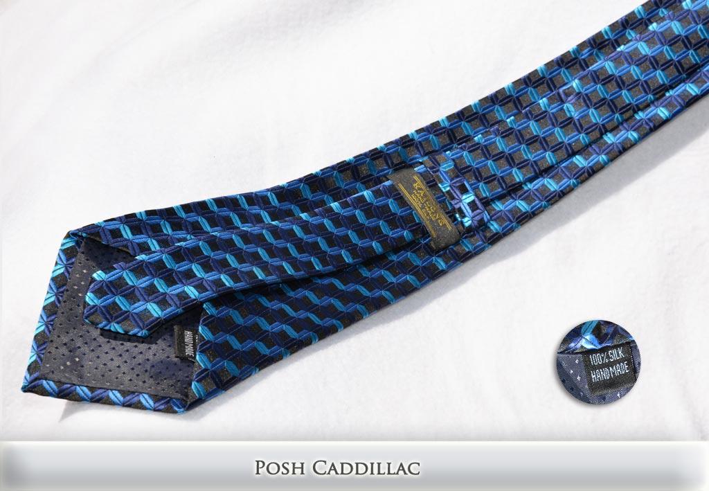 Blue-Shade-cubic-square-zig-zag-pattern-Jacquard-Handmade-Silk-Posh-Cadillac-txt-below-web