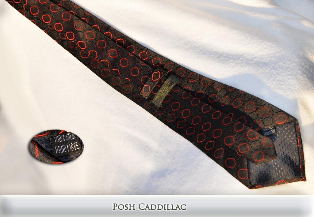 Byzantine-Gothic-Inspired-Black-Tie-with-Cubic-Red-Patern-Jacquard-Handmade-Silk-Posh-Cadillac-txt-below-web