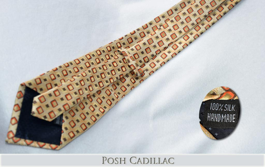 Cream-Gold-Tie-with-brown-red-cubes-squares-Handmade-Jacquard-Silk-Posh-Cadillac-txt-below-web