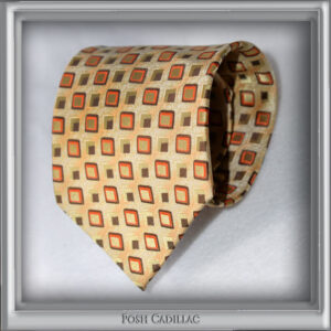 Cream-Gold-Tie-with-brown-red-cubes-squares-Handmade-Jacquard-Silk-Posh-Cadillac-txt-web-S