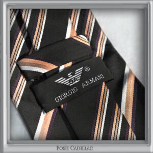 Giorgio-Armani-Striped-Tie-Mauve-Brown-Bronze-black-white-silk-handmade-web-posh-cadillac-main-txt-web-S