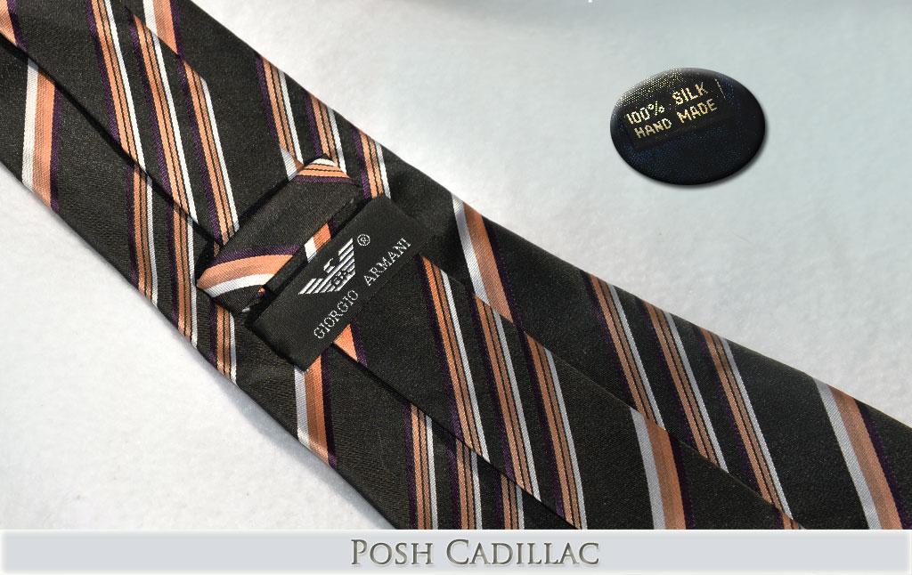 Giorgio-Armani-Striped-Tie-Mauve-Brown-Bronze-black-white-silk-handmade-web-posh-cadillac-txt-below-web-S