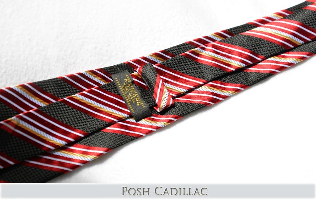 Grecian-Roman-Hellinist-inspired-yellow-Gold-red-black-white-stripes-Posh-Cadillac-Tie-Handmade-txt-web
