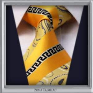 Versace-Inspired,-Greek-Key-Orange-Goldish-Thread-Floral-Tie-Posh-Cadillac-Main-txt-web-S