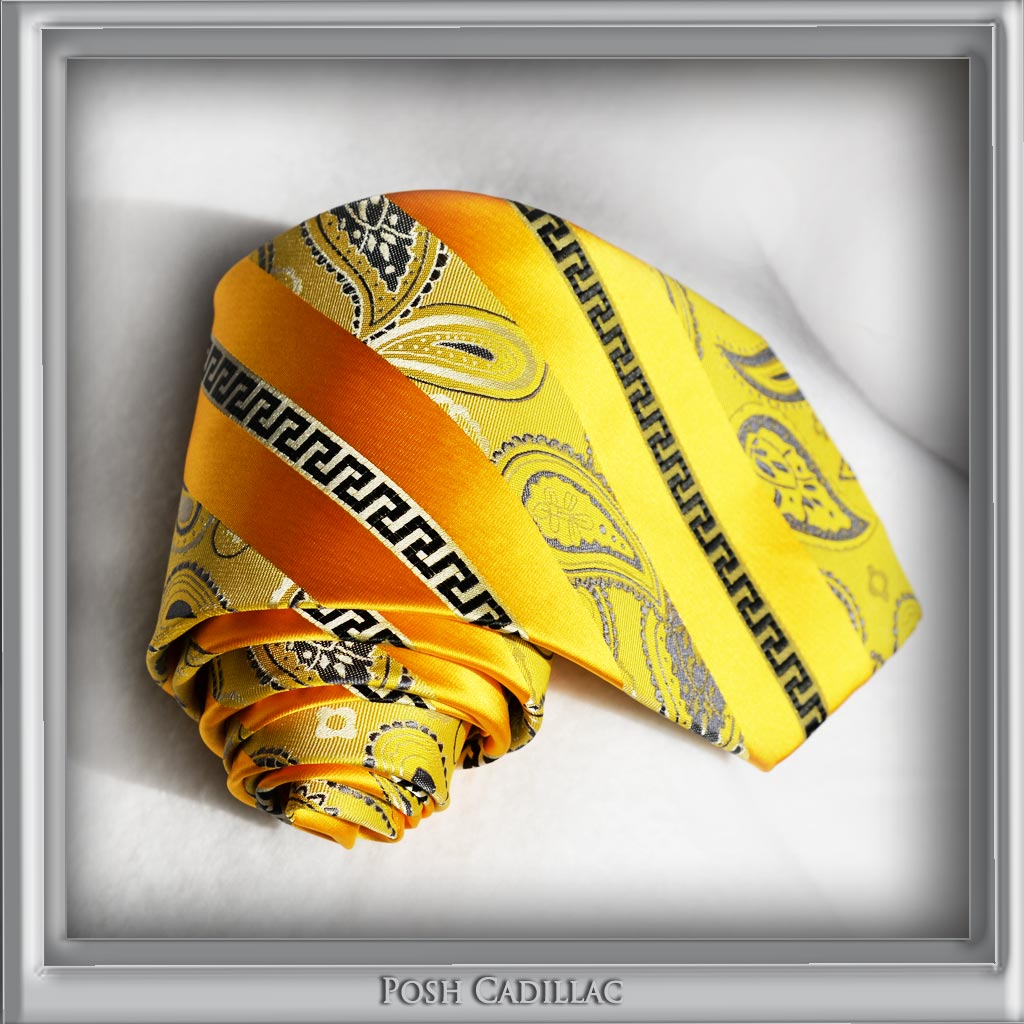 Versace-Inspired,-Greek-Key-Orange-Goldish-Thread-Floral-Tie-Posh-Cadillac-Main-txt2-web-S