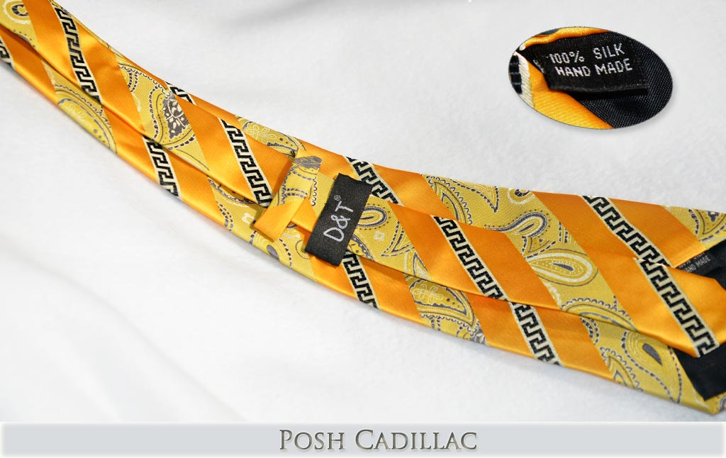 Versace-Inspired,-Greek-Key-Orange-Goldish-Thread-Floral-Tie-Posh-Cadillac-txt-below-web
