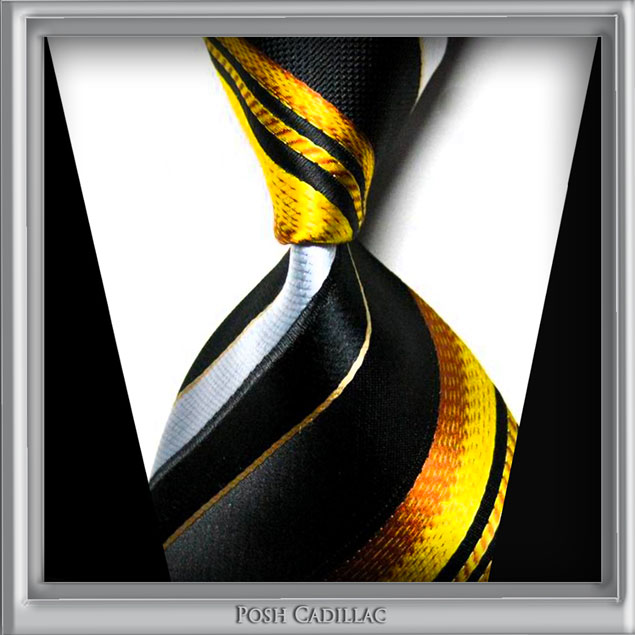 Versace-Inspired-Tie-patrern-Black-gold-bronze-brown-yellow-stripes-tie-handmade-silk-Posh-Cadillac-txt-web-S