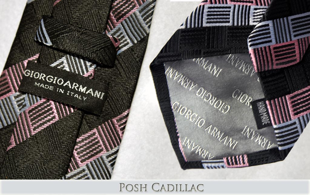 Vesace-Black-Squared-Linear-Pattern-on-Pink-and-Grey-Silver-Tie-Handmade-Silk-Posh-Cadillac-txt-below-web
