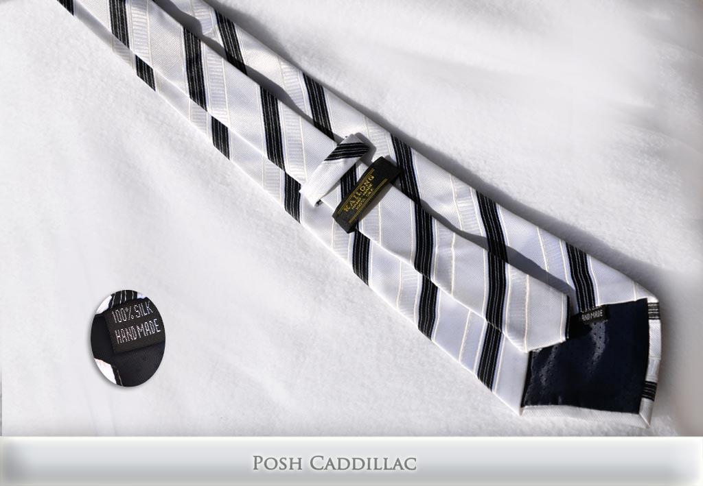 White-Jacquard-Silk-Tie-Black-Stipes-Posh-Cadillac-txt-below-web