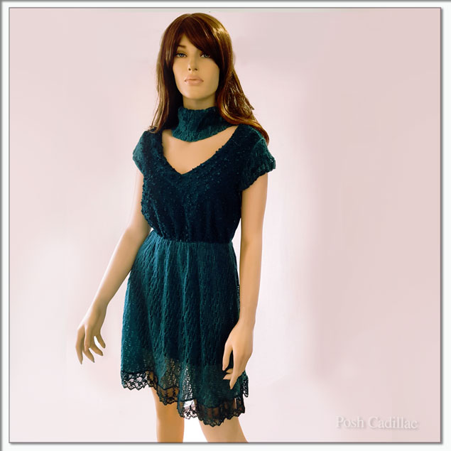 Dark-Green-Dress-with-ball-texture-on-knit-and-lace-fabric-close1-web-S