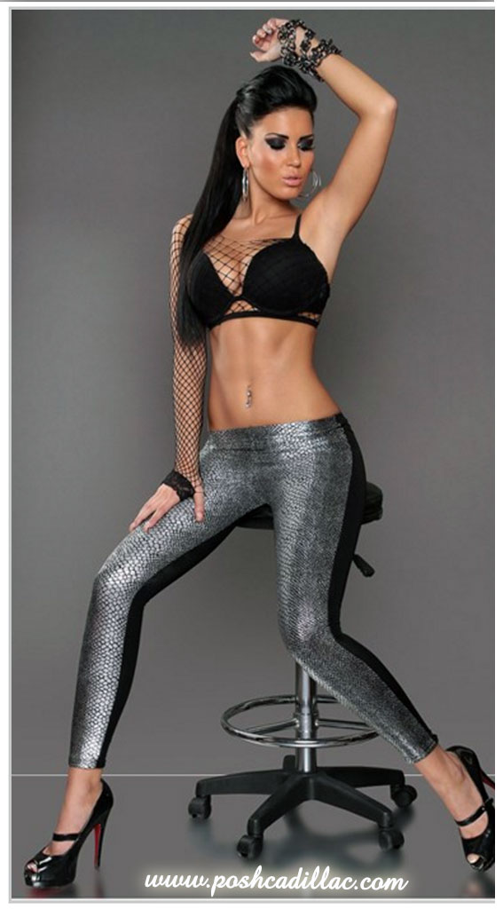 Black-Gold-leggings-Snake-Lizard-print-gold-&-silver-posh-cadillac-full-web-long-M