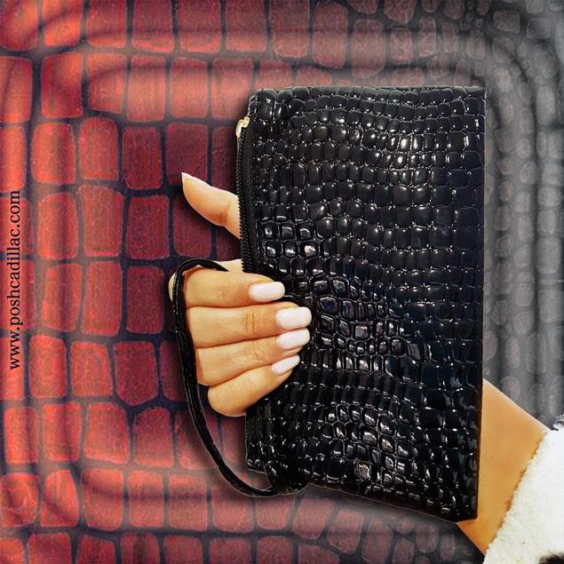 Crocodile-aligator-shiny-black-faux-leather-wallet-small-purse-main-web-S