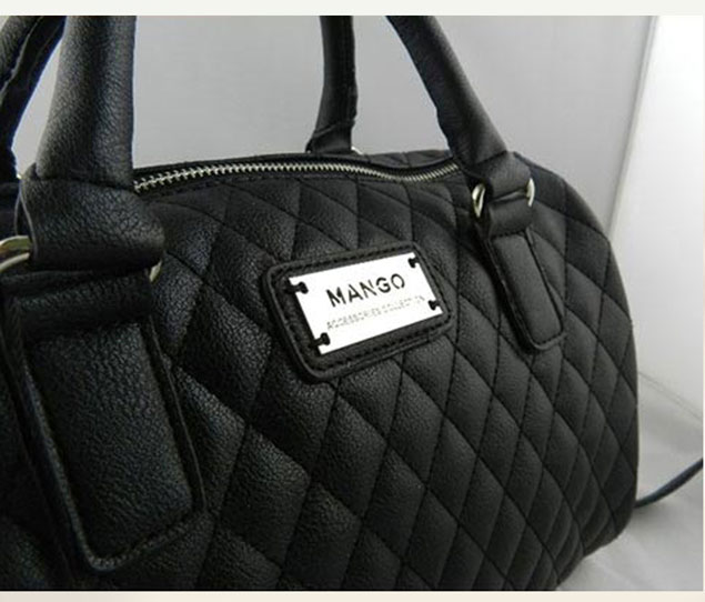 Black Capitone Faux Leather Quilted Bag With Optional