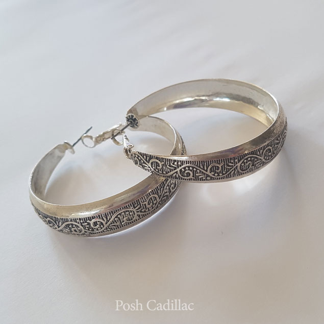 Silver Engraved Round Earrings Loop Ancient Grecian