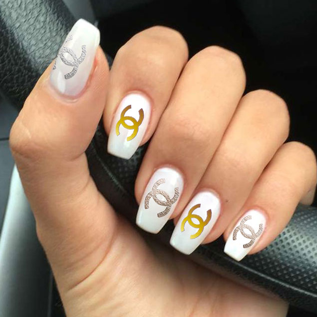 Coco Chanel Gold Silver Sticker Temporary Waterproof Tattoo Nail
