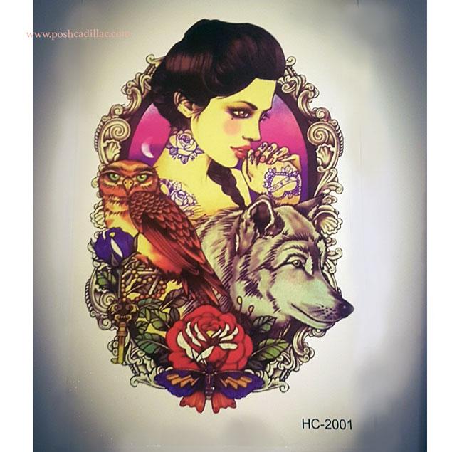 Goddess Athena Waterproof Temporary Tattoo Owl Wolf Rose