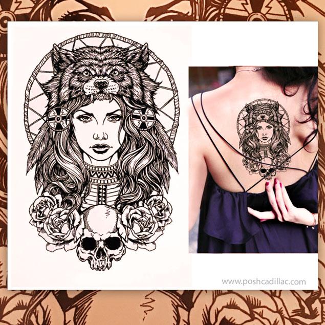 Big Temporary Waterproof Tattoo War Princess Greek Hellenic Olympian  Goddess Warrior Bear Skull Roses