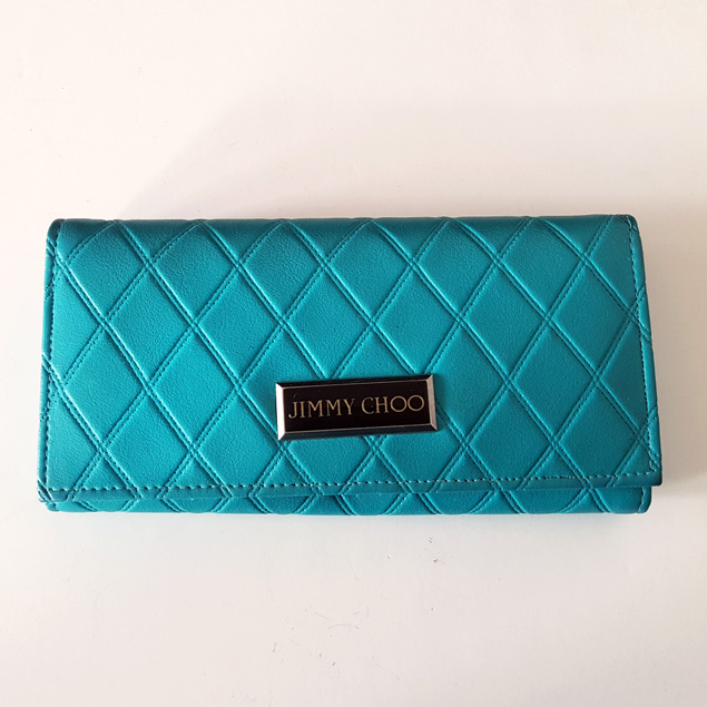 b8f057e575 Rare Jimmy Choo Capiton Quilted Designer Wallet Purse, Mediterranean ...