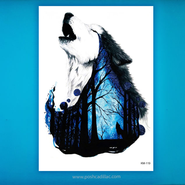 1360d9095 Details about Howling in the Night Forest Lonely Lycus Lycos Color  Temporary Tattoo Proud Wolf