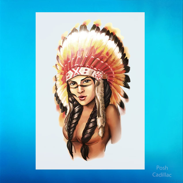 Details about Temporary Waterproof Color Tattoo Feather Native American Red  Indian Girl Face