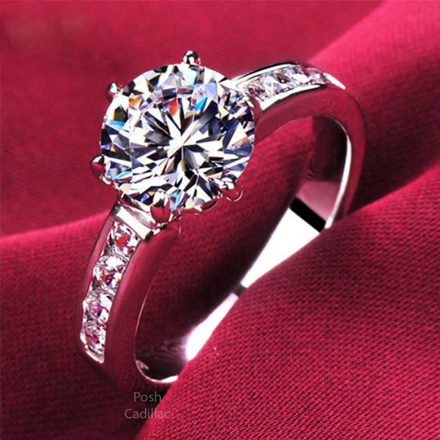 High Quality Silver Crystal Proposal Diamond Style Finger Cocktail