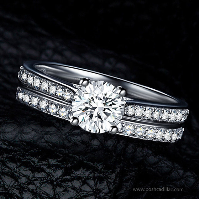 2Pcs Womens Mens Engagement Rings CZ Silver Plated Wedding Band Ring