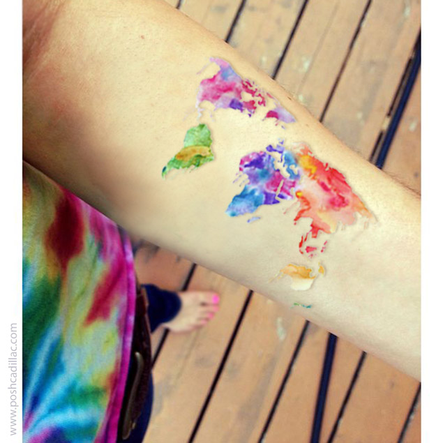 Temporary waterproof watercolor body tattoo art world sphere globe card size gumiabroncs Image collections