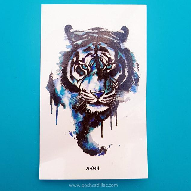 Waterproof Temporary Splash Watercolor Tattoo Blue Tiger